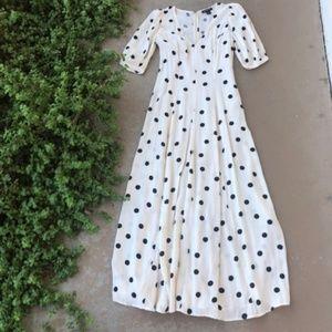 Something Navy White Polka Dot Print Maxi Dress